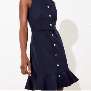 BNWT LOFT Button Flounce Pocket Dress